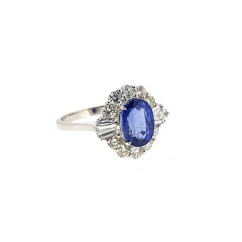 Sapphire and diamond cluster ring S3.37Cts D1.06Cts