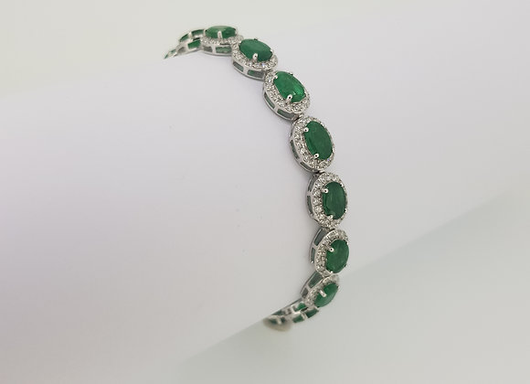 Emerald and diamond bracelet 18ct