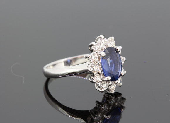 Sapphire and diamond cluster ring s2.57cts d1.08cts