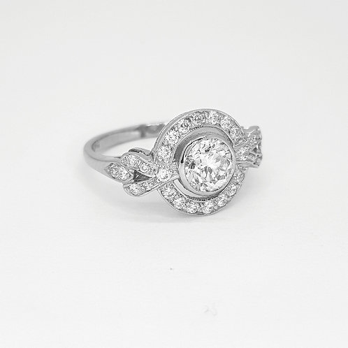Fixed Halo diamond ring platinum D0.75Cts x 0.35Cts