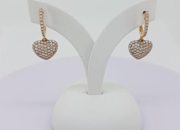 Diamond heart earrings 0.90cts