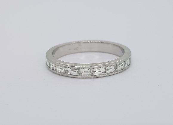 Baguette half eternity ring platinum D0.65cts size M1/2