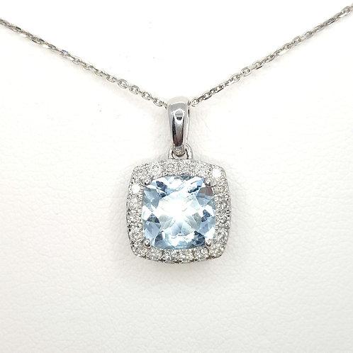 Aquamarine and diamond pendant Aq1.44CTS D0.24CTS 9CT