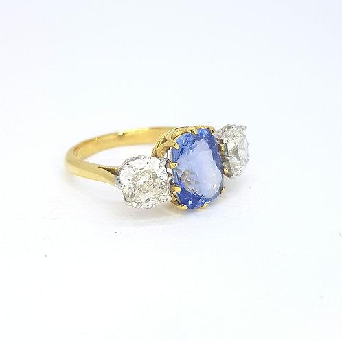Sapphire and diamond three stone. S3.12CTS D2.15CTS