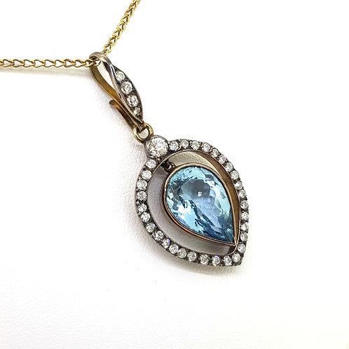 Aquamarine and diamond pendant Aq7.0Cts D1.25Cts