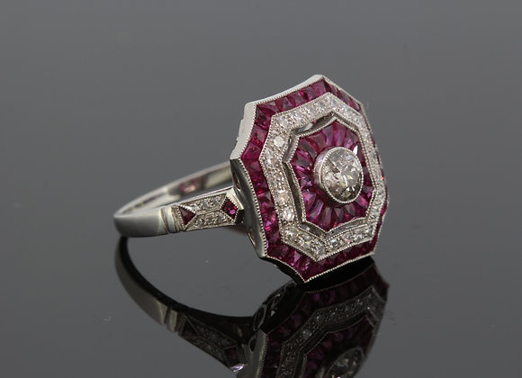 Ruby diamond calibre set ring platinum