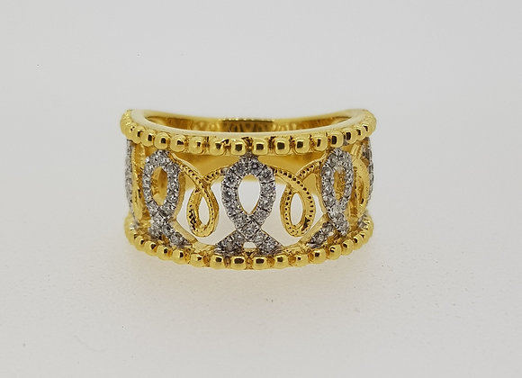 Diamond wide band ring