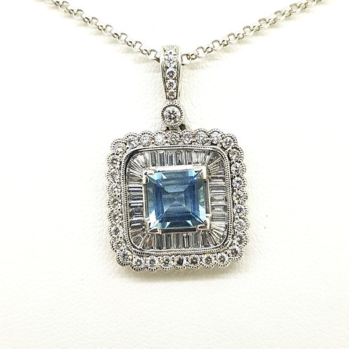 Aquamarine and baguette diamond pendant d1.42cts aq1.50cts