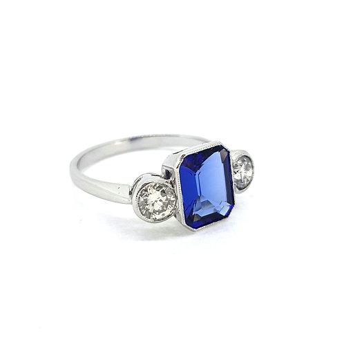 Tanzanite and diamond three stone tz2.20cts d0.65cts