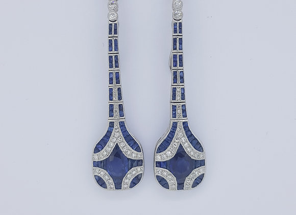 Sapphire and diamond drop earrings.