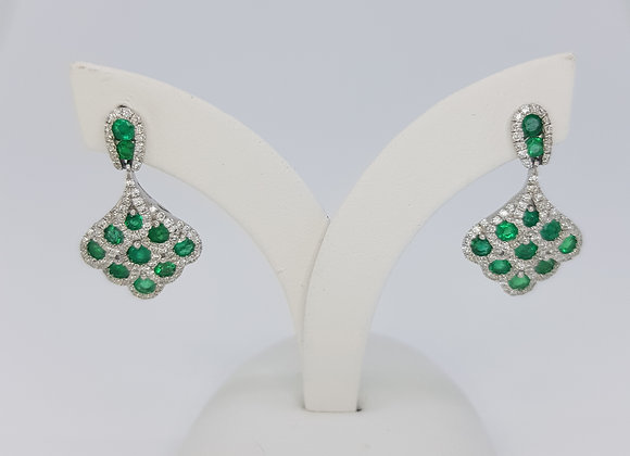 Emerald and diamond cluster earrings e1.30cts d0.70cts