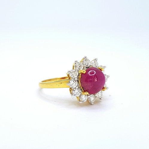 Cabershan Burma Riby and Diamond cluster ring