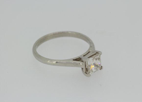 Princess cut solitaire diamond ring.