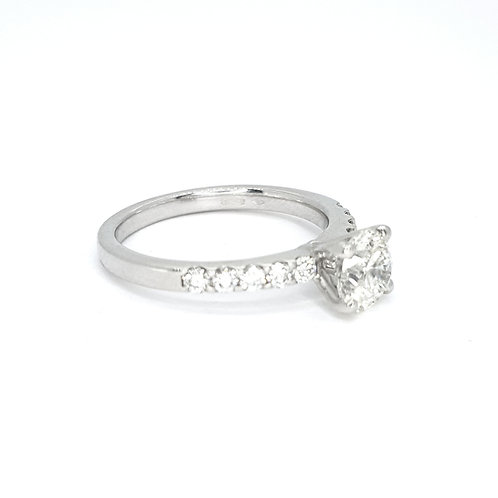 Solitaire diamond ring platinum shoulders D1.01CTS