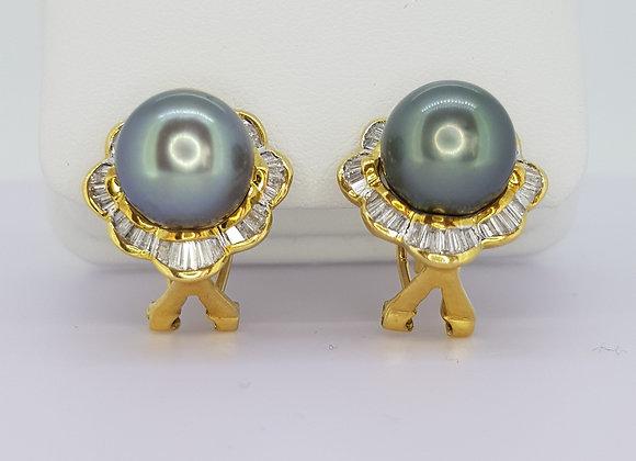Tahitian Pearls and Diamond earrings.
