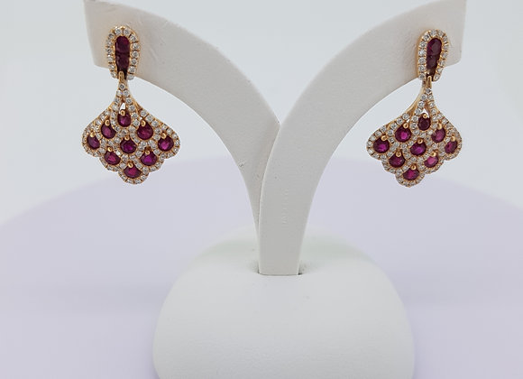 Ruby and diamond earrings.