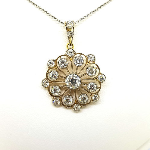 18Ct diamond brooch and bale est.D4.0Cts platinum chain