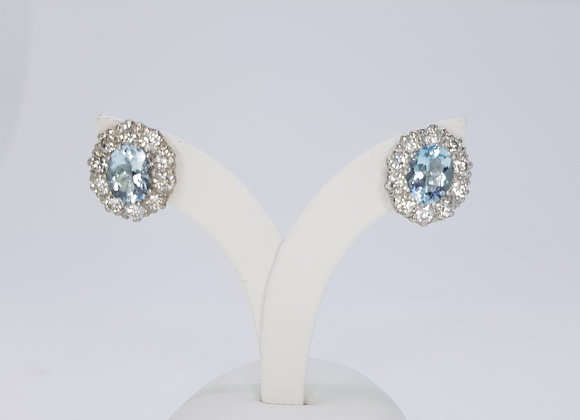 Aquamarine and diamond cluster studs A2.50cts D1.90cts