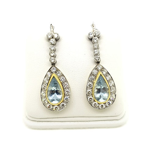 Aquamarine and diamond cluster drop earrings Aq4.0Cts D3.0Cts