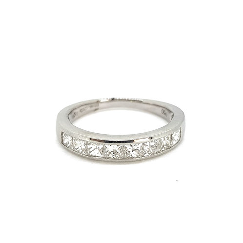18Ct half eternity ring D1.0Cts platinum