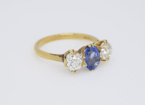 Natural Sapphire and diamond three stone ring ns1.10cts ocd1.10cts