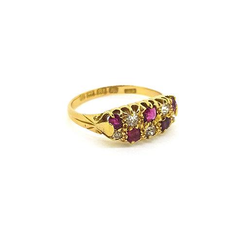 Antique ruby and diamond ring 18Ct Birmingham 1900