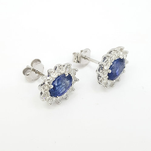 Classic sapphire and diamond cluster studs S2121CTS D0.82CTS