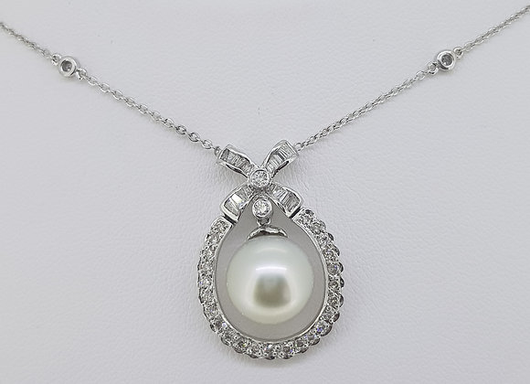 South sea pearl and diamond pendant and neck chain.