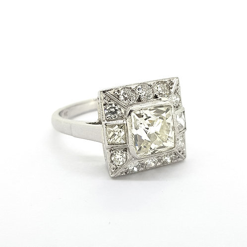 Square Deco style diamond ring CD1.74Cts x 0.85Cts