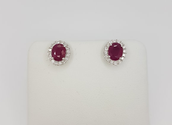 Ruby and diamond cluster earrings r1.63cts d0.30cts