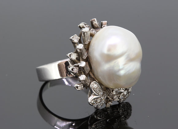 Southsea pearl and diamond ring