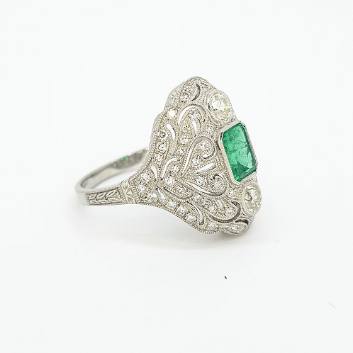 Platinum and diamond Colombian emerald ring