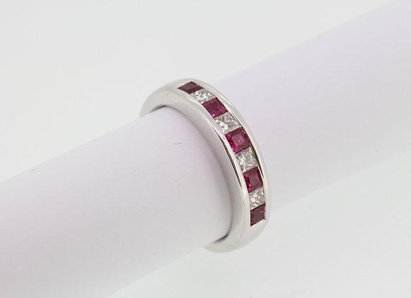 Ruby diamond channel set ring