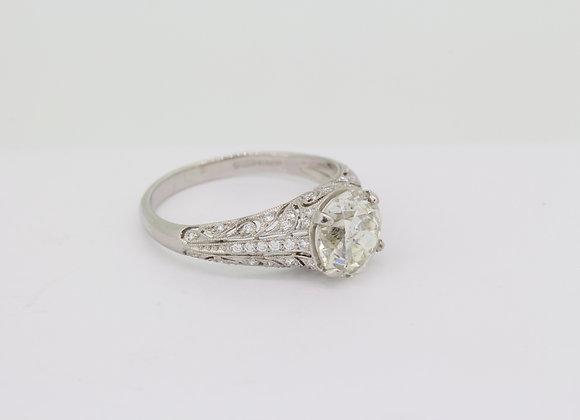 Solitaire platinum deco mount old cut diamond D1.90cts