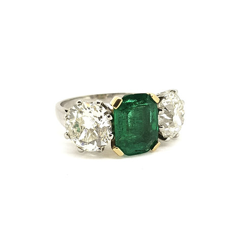 Columbian certified Emerald and Diamond 3 stone ring.
