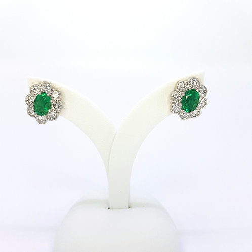 Emerald and diamond cluster earrings e1.50cts d1.30cts
