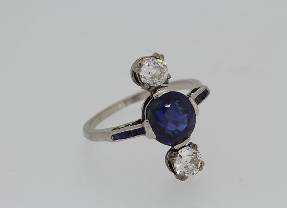 Natural sapphire and diamond ring.