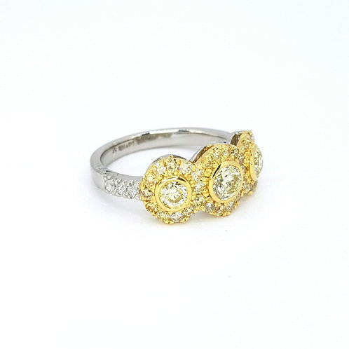 Platinum fancy yellow  triple cluster ring OCY1.22Cts