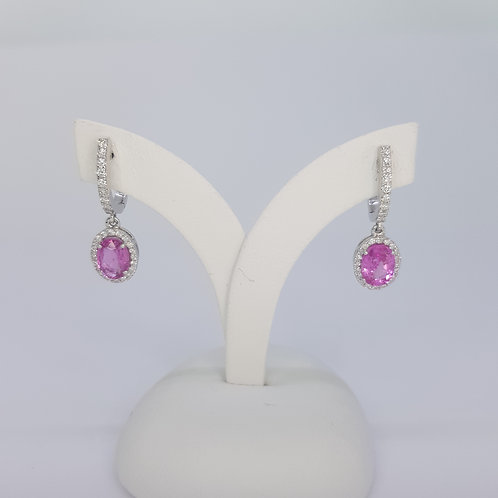 Pink sapphire and diamond drop earrings PS2.01CTS D0.41CTS