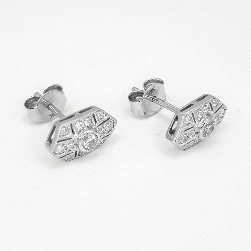 Art deco style diamond stud earrings TDW0.30CTS