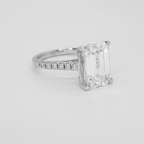 Emerald cut diamond ring.