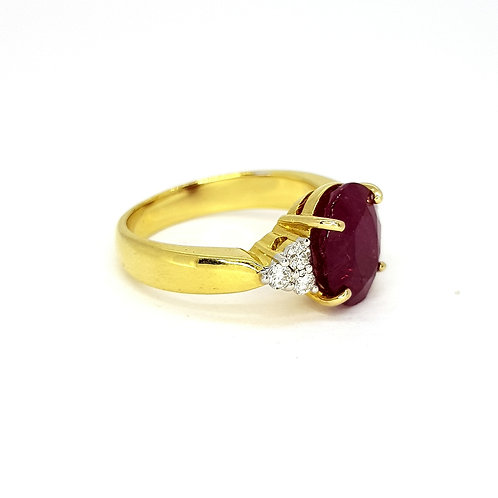Ruby and diamond trilogy ring R1.76CTS D0.24CTS