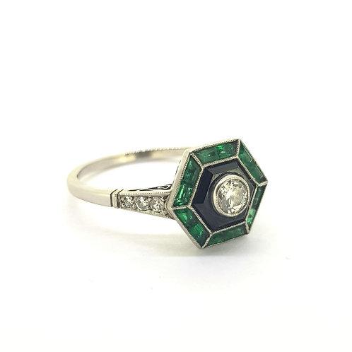 Vintage Art Deco Emerald, Diamond & Onyx ring