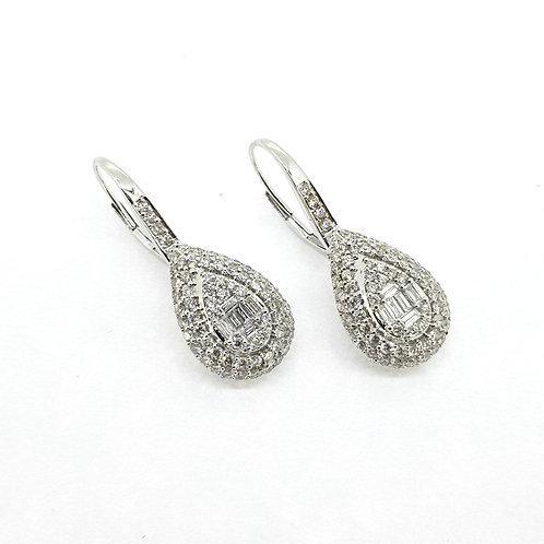 Multi stone pear shaped drop earrings TDW2.30Cts