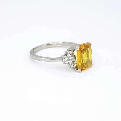 Yellow sapphire and platinum diamond ring YS2.10CTS D0.15CTS