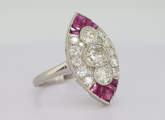 Ruby and diamond marquee cluster ring..