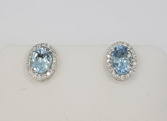 Aquamarine and diamond cluster earrings a1.44cts d0.21cts