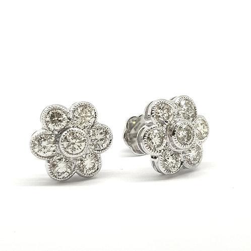 Daisy diamond cluster stud earrings 2.03Cts
