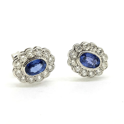 Sapphire and diamond cluster earrings S1.10Cts D0.65Cts