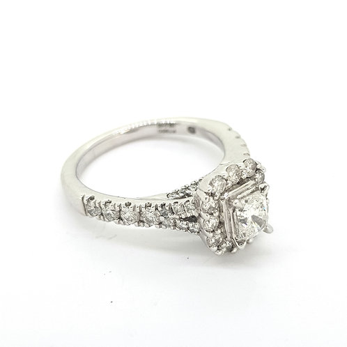 Emerald cut diamond cluster ring TDW0.85CTS platinum